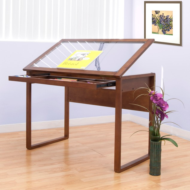 Offex Ponderosa Glass Topped Table - Sonoma Brown