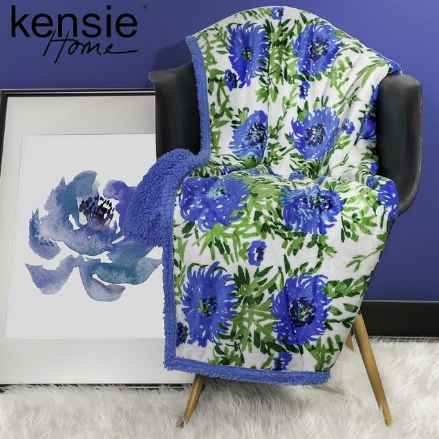 Floral Ultra Plush & Soft Fleece Sherpa Throw Blanket by KENSIE