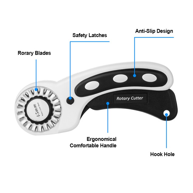 45MM ROTARY CUTTER FOR PRECISE CUTTING IDEAL FOR SEWING FABRIC LEATHER