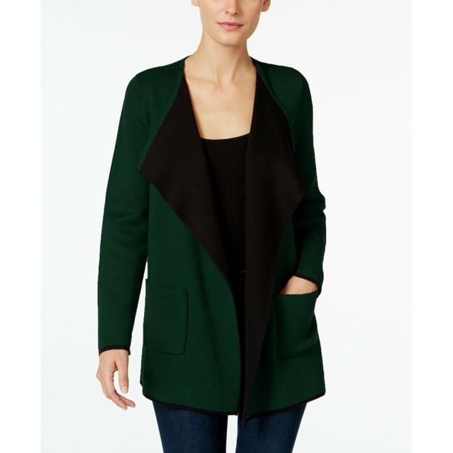 Alfani Women's Colorblocked Open-Front Cardigan  Green Size Large