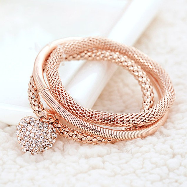 Crystal Heart Bracelets - 3 Colors
