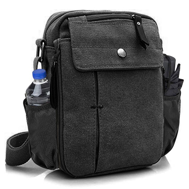 Multi-Functional Canvas Bag with Bottle Holder (Multiple Colors)
