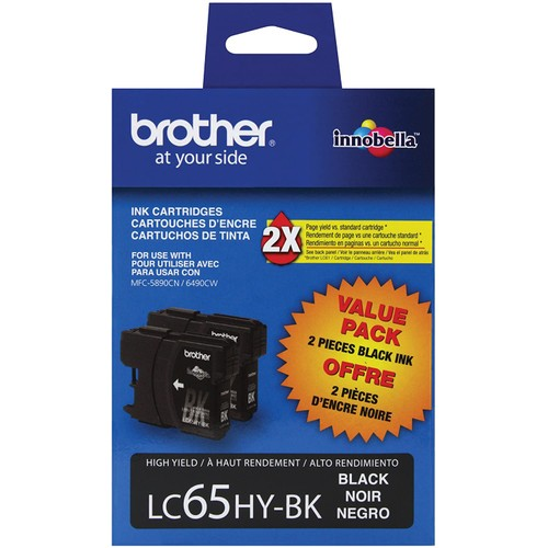 Brothers Brother LC65HYBK2 High-Yield 2-Pack Ink Cartridge, 900 Page-Yield, Black