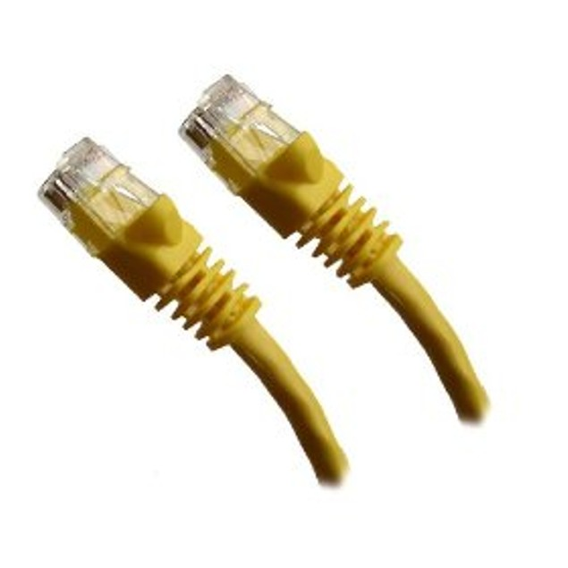 YELLOW - CAT5e Ethernet Patch Cable Molded Snagless Boots - 7 Feet