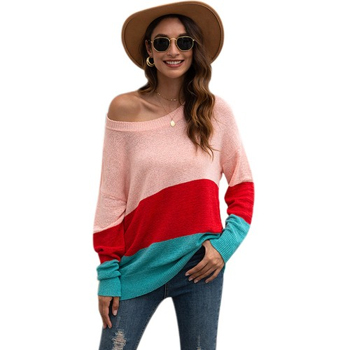 Women's Striped Stitching Off-The-Shoulder Sweater