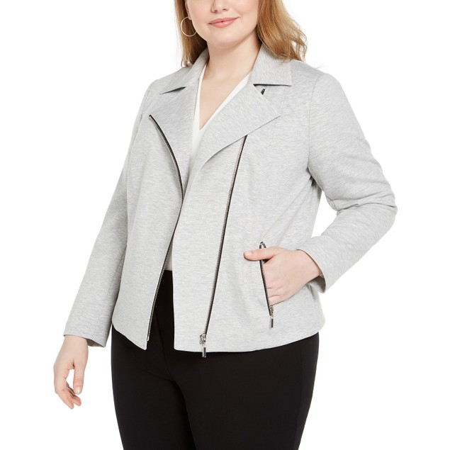 Bar III Women's Trendy Plus Size Ponte-Knit Moto Jacket Gray Size 1X