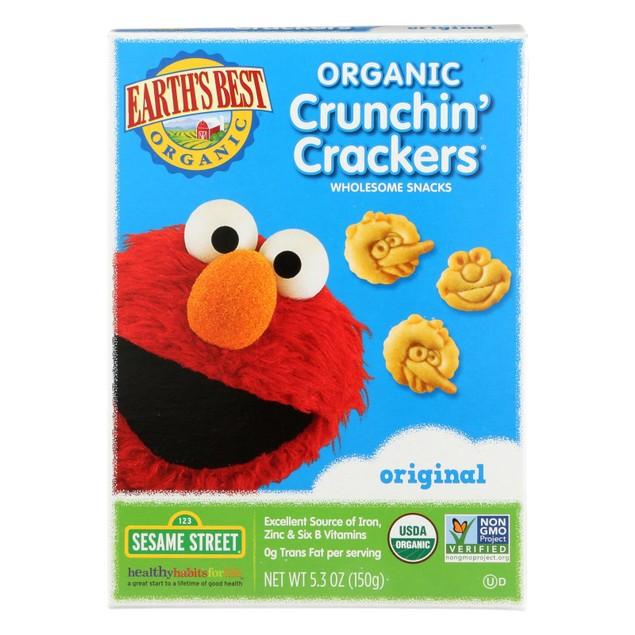Earth's Best Organic Original Sesame Street Crunchin' Crackers - Pack of 6