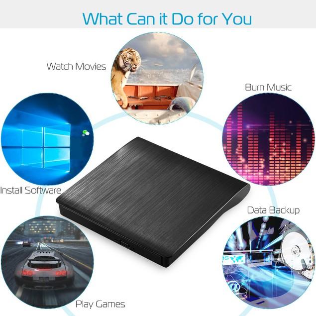 External CD DVD Drive USB 3.0 Slim DVD-RW Drive