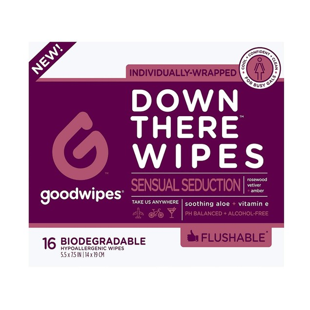 Goodwipes Down There Wipes Sensual PH-Balanced Seduction Wipes, 16 Count