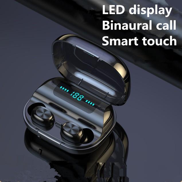 Digital Touch Wireless 5.0 Binaural Bluetooth Headset With Power Display