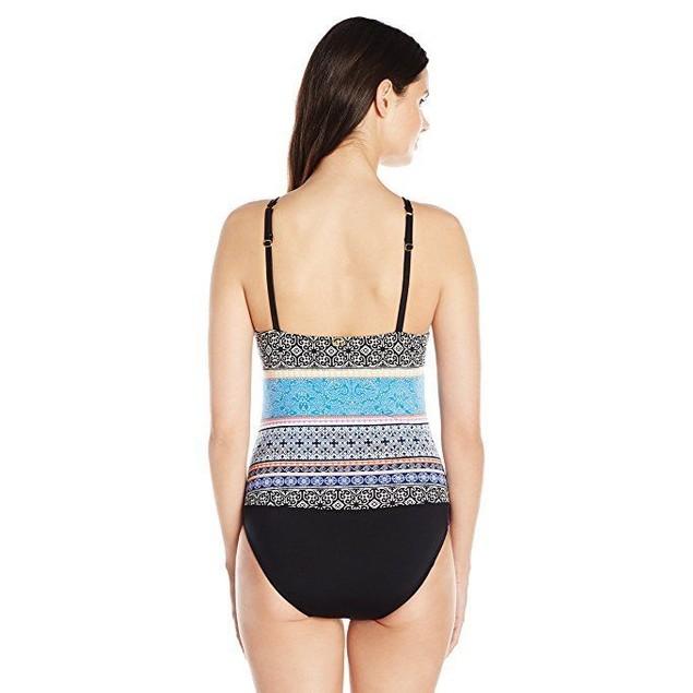 Jantzen Women's Batik Stripe High Neck Over the Shoulder One Piece Sz1