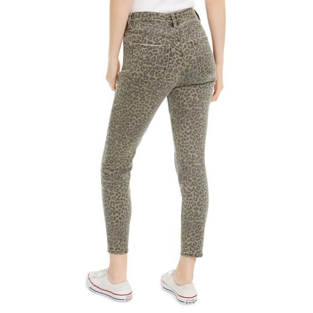 Indigo Rein Juniors Leopard-Print Cropped Skinny Jeans Green Size 0