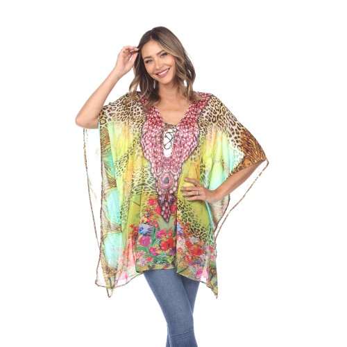 Animal Print Caftan with Tie-up Neckline - 4 Colors - Extended Sizes