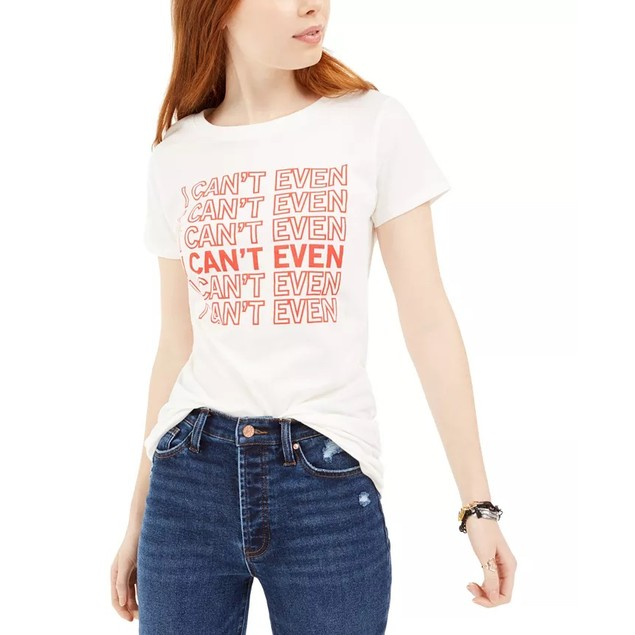 Love Tribe Junior's I Can't Even Graphic T-Shirt White Size Small