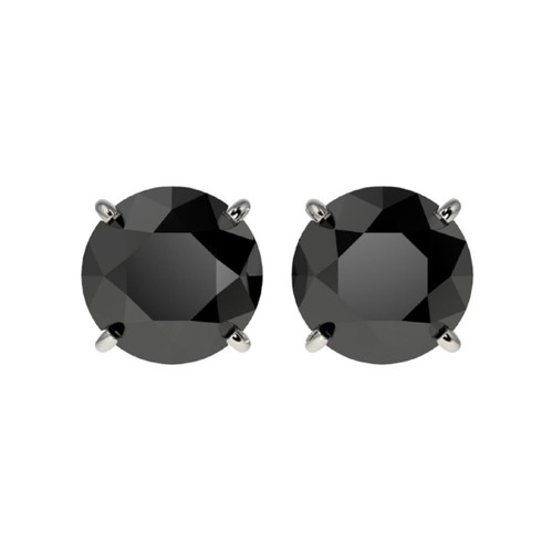 Sterling Silver Round 10mm Black Cubic Zircon Studs Post Earrings