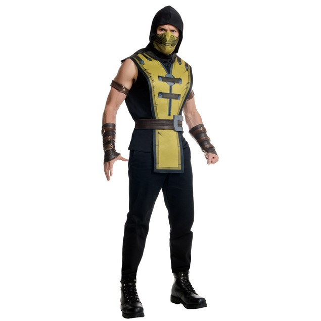 Scorpion Costume Mens Mortal Kombat X Mask Tabard Belt Gauntlets Video Game