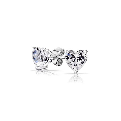 Solid Sterling Silver Heart Studs