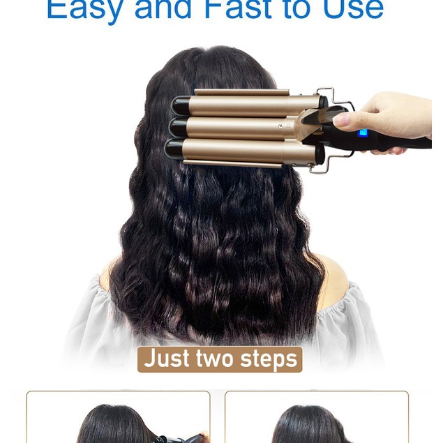 Curling Irons True Temperature Adjustment Three Rods Lcd Temperature Control Water Ripple Curling Iron Hairdressing Tools