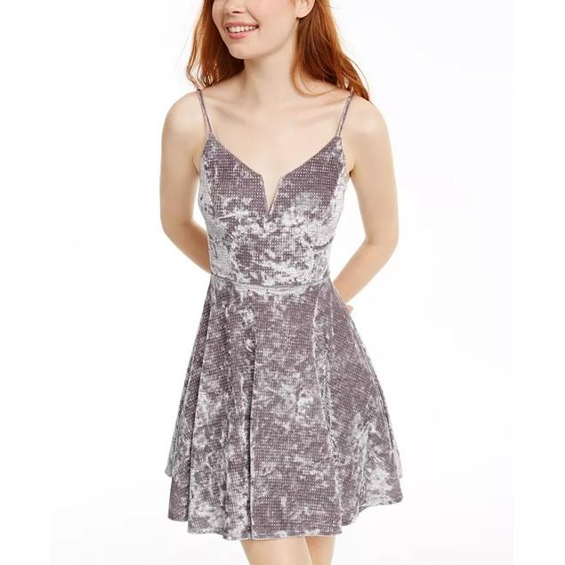 City Studios Juniors' Glitter Crushed Velvet Fit & Flare Dress Gray Size 3