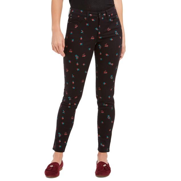 Charter Club Women's Floral-Print Skinny Jeans Black Size 8