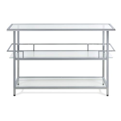 Offex Metal Chrome and Clear Glass 3 Tier Portico Bar Cocktails Station