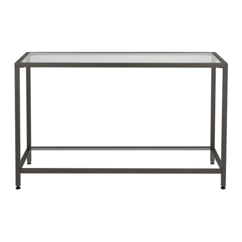 Offex Camber Collection Rectangle Clear Glass Console Table - Pewter