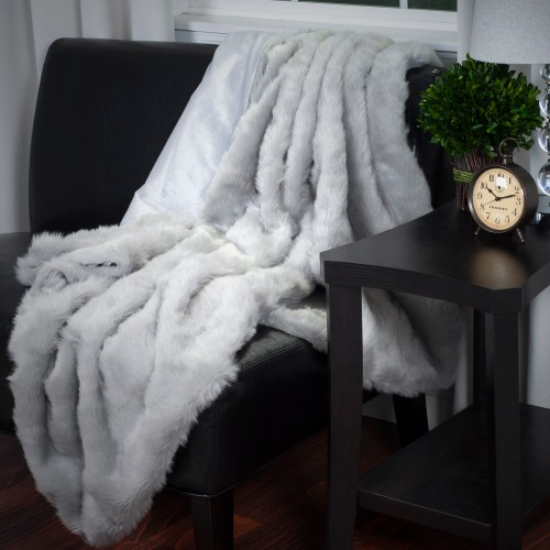 Lavish Home Luxury Long Haired Faux Fur Throw - Grey