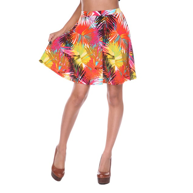 Tropical Palm Printed Fit and Flare Mini Skirt