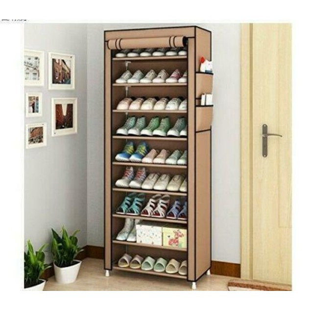 Dustproof 10 Layer Shoes Cabinet Storage Organiser Shoe Rack Saving