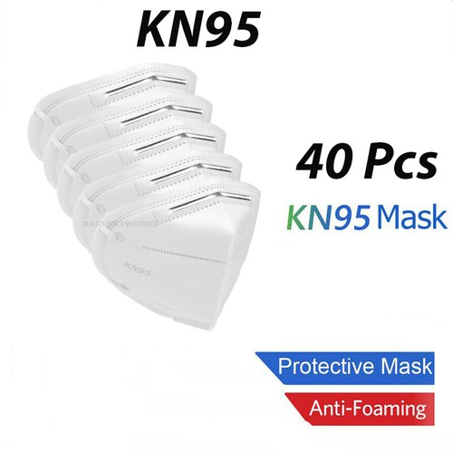 40 Pcs White KN95 Protective Face Mask BFE 95% Disposable Respirator KN 95