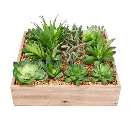 Faux Succulents – Assorted Lifelike Plastic Greenery Arrangement with 10 Inch Decorative Wooden Box for Indoor Home or Office by Pure Garden (4 Piece)