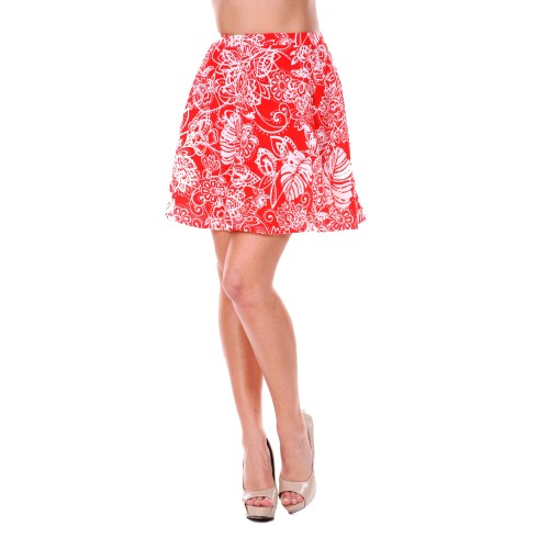 Floral Leaf Printed Fit and Flare Mini Skirt