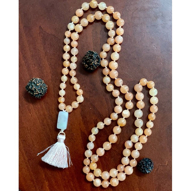 7-9mm 108 Bead Peach Moonstone Mala Hand Knotted Mantra Sound Healing