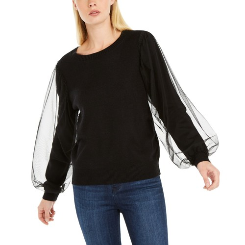 INC International Concepts Women's Tulle-Sleeve Sweater  Black Size Small