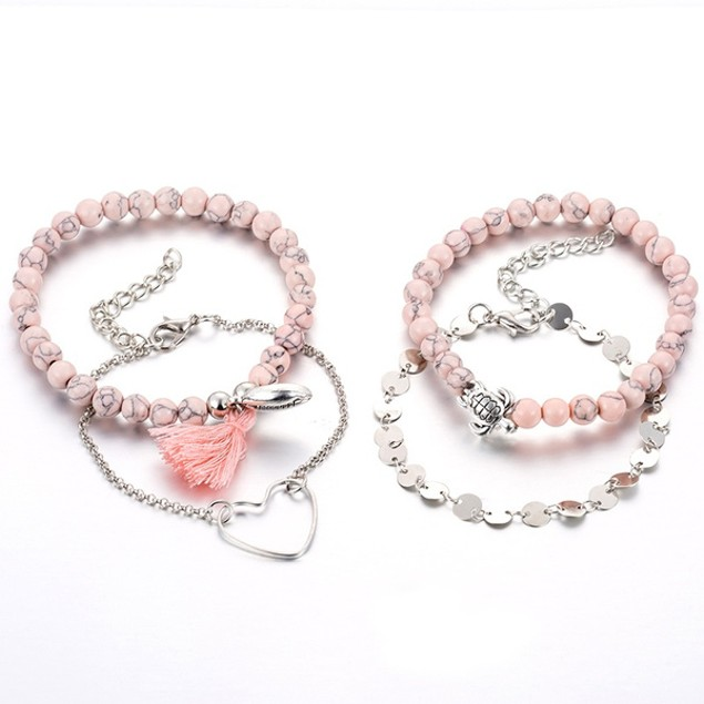 Pink Ocean Love Women Bracelets Set