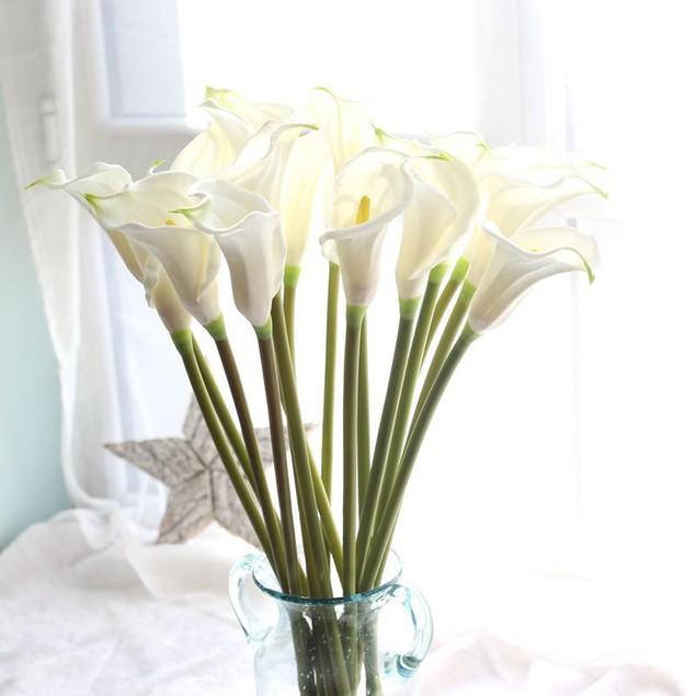 4PC Artificial Fake Flowers Leaf Calla Lily Floral Wedding Bouquet Decor