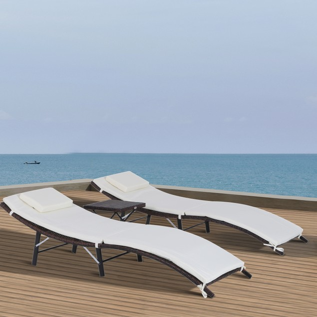 3 Piece Outdoor Folding Rattan Wicker Chaise Lounge Chair and Table Set