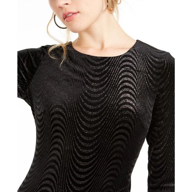 Sequin Hearts Juniors' Wavy Shimmer Velvet Dress Black Size 3