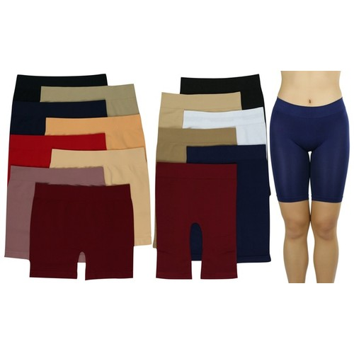 (6 Pack) ToBeInStyle Assorted Lightweight Layering Seamless Shorts