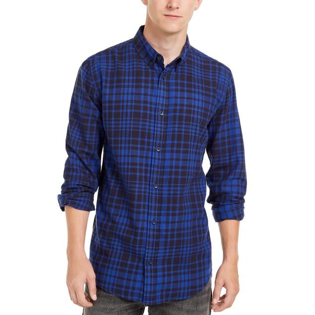 Levi's Men's Alban Plaid Flannel Shirt Turq Size Large
