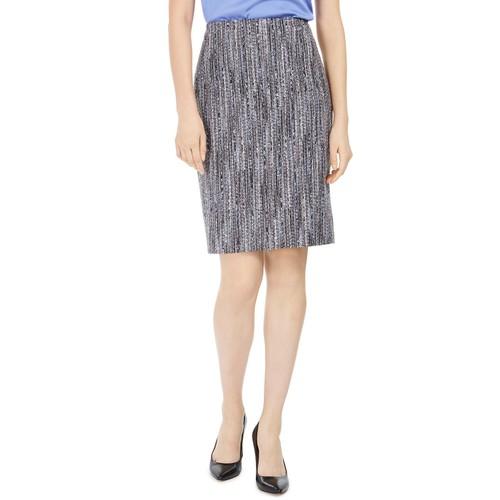 Anne Klein Women's Tweed Pencil Skirt Dark Gray Size 2