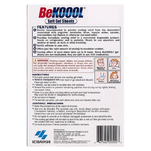 Be Koool Cooling Gel Sheets Cooling Relief for Migraine, Lasts 8 Hours, 6