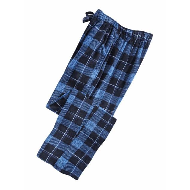 Perry Ellis Men's Windowpane Plaid Fleece Pants Navy Size Large