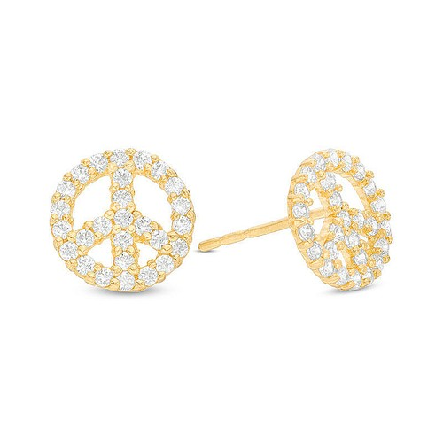 10K Solid Yellow Gold Cubic Zircon Peace Sign Stud Earrings