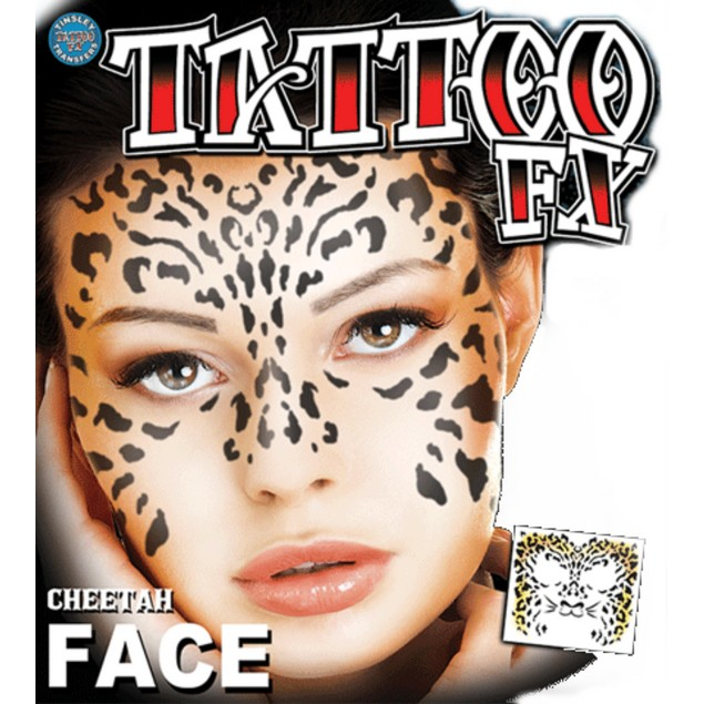 Cheetah Face Temporary Tattoo Mask Costume Black Tinsley Transfers Kit FX