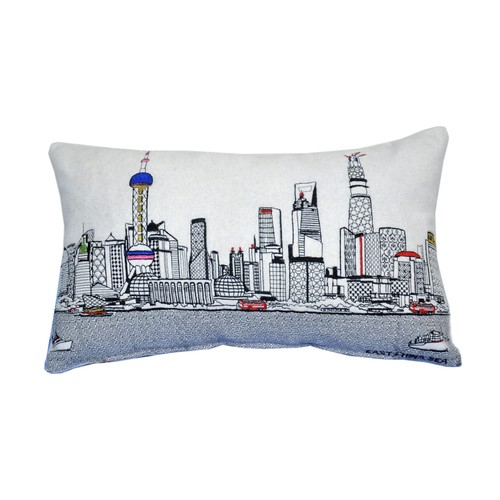 Spura Home Shanghai Skyline Embroidered Wool Cushion Day/Night Setting