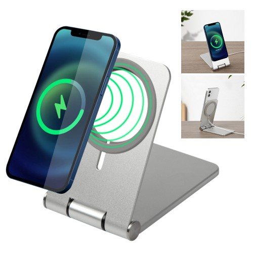 Magnetic Charger Phone Holder Stand Base for Universal Phone Sliver