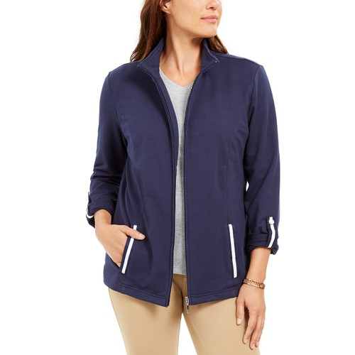 Karen Scott Women's Sport French Terry Ribbon-Trim Jacket Navy Size Medium