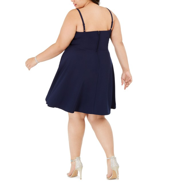 City Studios Women's Plus Size Trendy Sweetheart Dress Navy Size 22W