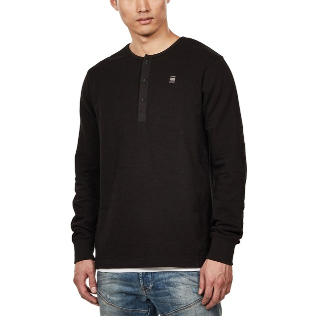 G-Star Raw Men's Four-Button Henley Black Size Small